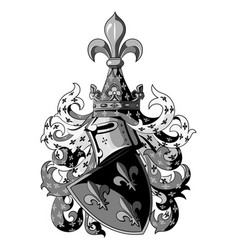 knightly coat of arms heraldic medieval knight vector image