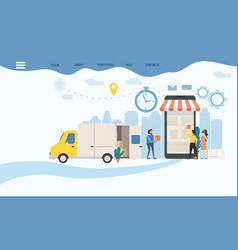 Landing delivery of goods tracking of goods vector