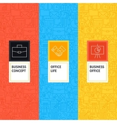 Line Business Office Patterns Set vector