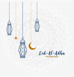 Lovely islamic eid al adha greeting with hanging vector