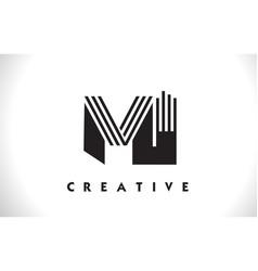 Mi logo letter with black lines design line letter vector