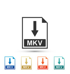 Mkv file document icon download mkv button icon vector