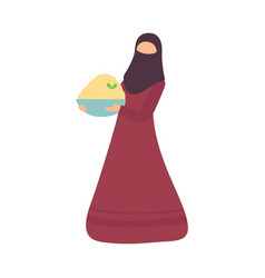Muslim woman holding bowl traditional food on vector