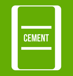 one bag of cement icon green vector image
