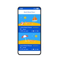 Online booking app smartphone interface template vector