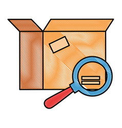 packing box carton with magnifying glass vector image