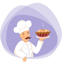 pastry chef with apple pie vector image