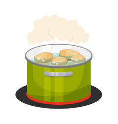 Peeled potatoes boiling in cooking pot vector