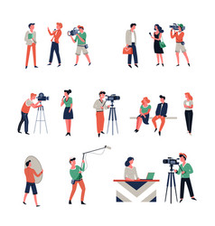 photo shooting and filming of news report in vector image