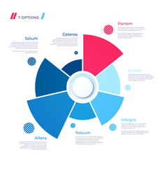 Pie chart concept with 7 parts template vector