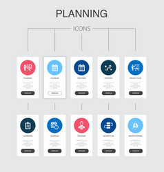 Planning infographic 10 steps ui designcalendar vector