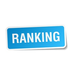 Ranking blue square sticker isolated on white vector