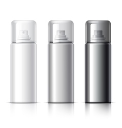 Realistic White Cosmetics bottle can Spray vector image
