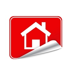 Red sticker home vector image