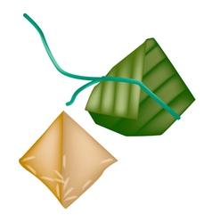 Rice Dumpling or Zongzi in Bamboo Leaf vector