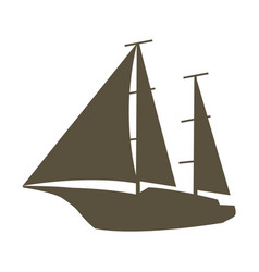 sailing yacht silhouette nautical vector image