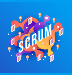 scrum text design - isometric vector image