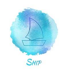 Sea Ship Marine Watercolor Concept vector