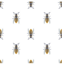 seamless pattern with insects symmetrical vector image