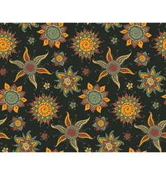 Seamless pattern with traditional indian sun and vector