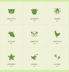 set of 9 editable zoo icons includes symbols such vector image