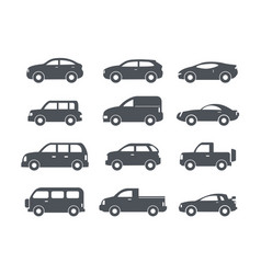 Set of black car icons - stock collection vector