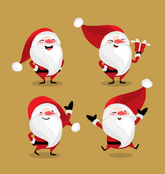 set of cute santa claus vector image