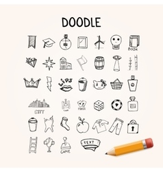 Set of doodle icons hand-drawn objects vector