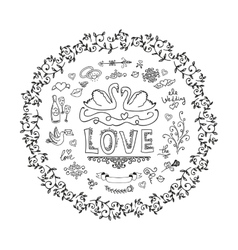 Set of wedding ornaments and decorative elements vector