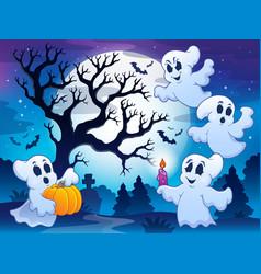 Spooky tree theme image 4 vector