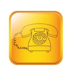 Square button with silhouette antique phone icon vector