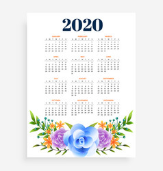 Stylish 2020 new year vertical flower template vector