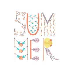 Summer creative hand drawn lettering with floral vector