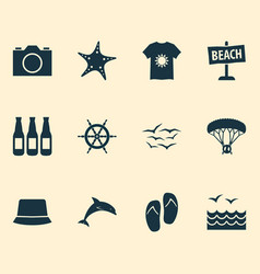 sun icons set with dolphin ship helm beer and vector image