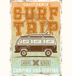 surfing colored vintage poster with bus vector image