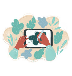 tablet pc hands make vector image