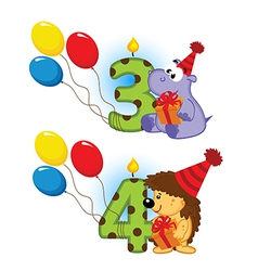 third fourth birthday with animal vector image