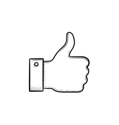 thumb up hand drawn outline doodle icon vector image