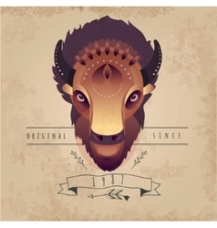 Trendy Retro Vintage Buffalo vector image