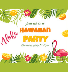 Tropical floral poster with flamingo vector