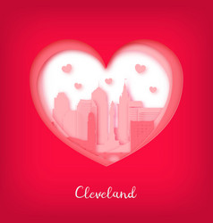 Valentines card paper cut heart cleveland vector