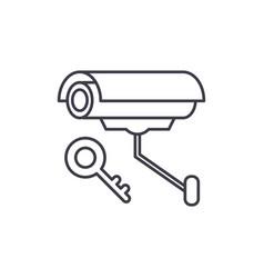 video alarm line icon concept video alarm vector image
