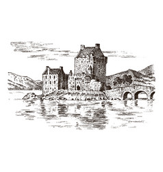 Vintage castle in scotland graphic monochrome vector