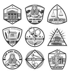 vintage monochrome judicial system labels set vector image