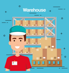 Warehouse goods service icons vector