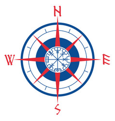 Wind rose navigation runic compass vegvisir vector