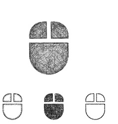 Wireless mouse icon set - sketch line art vector