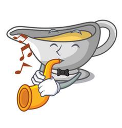 With trumpet cartoon sauce boat with turkey gravy vector
