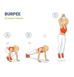 Woman burpee or squat thrust exercise colorful vector