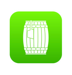 Wooden barrel with ladle icon digital green vector